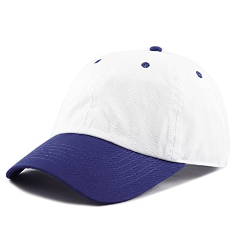Blue Mesh Trucker Hat - THE HAT DEPOT Unisex Blank Washed Low Profile Cotton and Denim Baseball Cap Hat (White/Royal Blue)