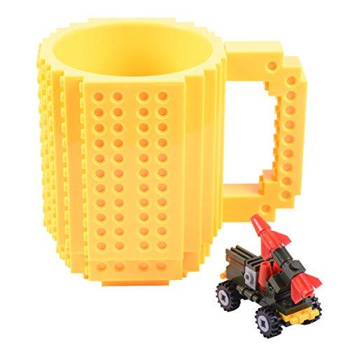 Build-On Brick Mug [Updated Version] Creative DIY Building Blocks Coffee Cup Water Bottle Puzzle Toy Mug 12oz 350 ml Desk Ornament Christmas Gift (Yellow)