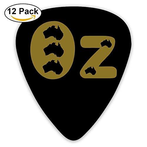 HOOAL Guitar Lover Acoustic Guitar Plectrums,print Oz AUSTRALIE AUSTRALIA,0.46mm/0.73mm/0.96mm,12 Pack For Guitarist Musicians Best -