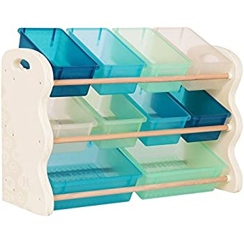 B. spaces by Battat - Totes Tidy Toy Organizer - Kids Furniture Set Storage Unit with 10 Stackable Bins - Ivory, Sea and Mint