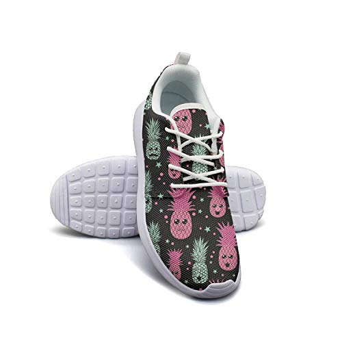 Happy Pink and Green Pineapple Face Womans Skateboard Casual Shoes Sneakers Breathable Basketball Shoes