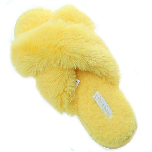 Women's Cross Band Soft Plush Fleece House Flip Flop Open Toe Comfy Slip On Outdoor Slippers