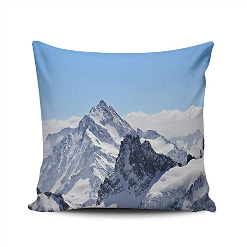 (WEINIYA Bedroom Custom Decor Beautiful Winter Landscape in The Matterhorn Throw Pillow Cover Elegant Design Double Sides Printed Patterning Square 24x24 Inches)