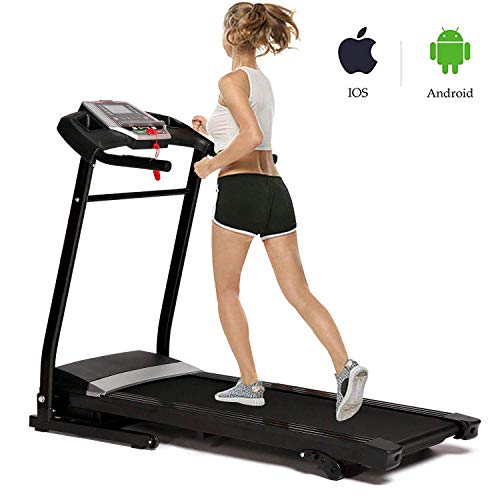 Fitness Folding Electric Motorized Power Jogging Treadmill Smartphone APP Control Walking Running Machine Incline Trainer Equipment (2.25 HP - Black)