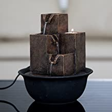 """Diensday Indoor Tabletop Fountain Decor Home Light Relaxation Cascading Rock Pump Waterfall Fountains Zen Small Desk New(8.5""""H- 3 Tier cuboid column,metal top,plastic base,pump,candle included)"""