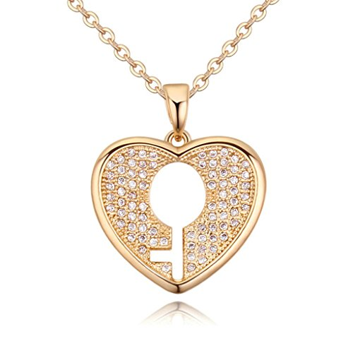 Epinki Women Girl Necklace, Gold Plated Love Heart Key Cubic Zirconia Collar Champagne (Sterling Silver Detroit Tigers Charm)