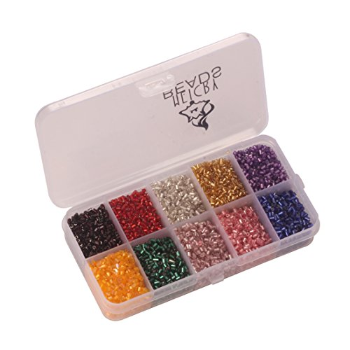 Meicry beads 2-3mm Glass Seed Bugle Tube Beads Loose Bead Jewelry Findings (10colors/Pack 2500pcs) (Mixed Colors)