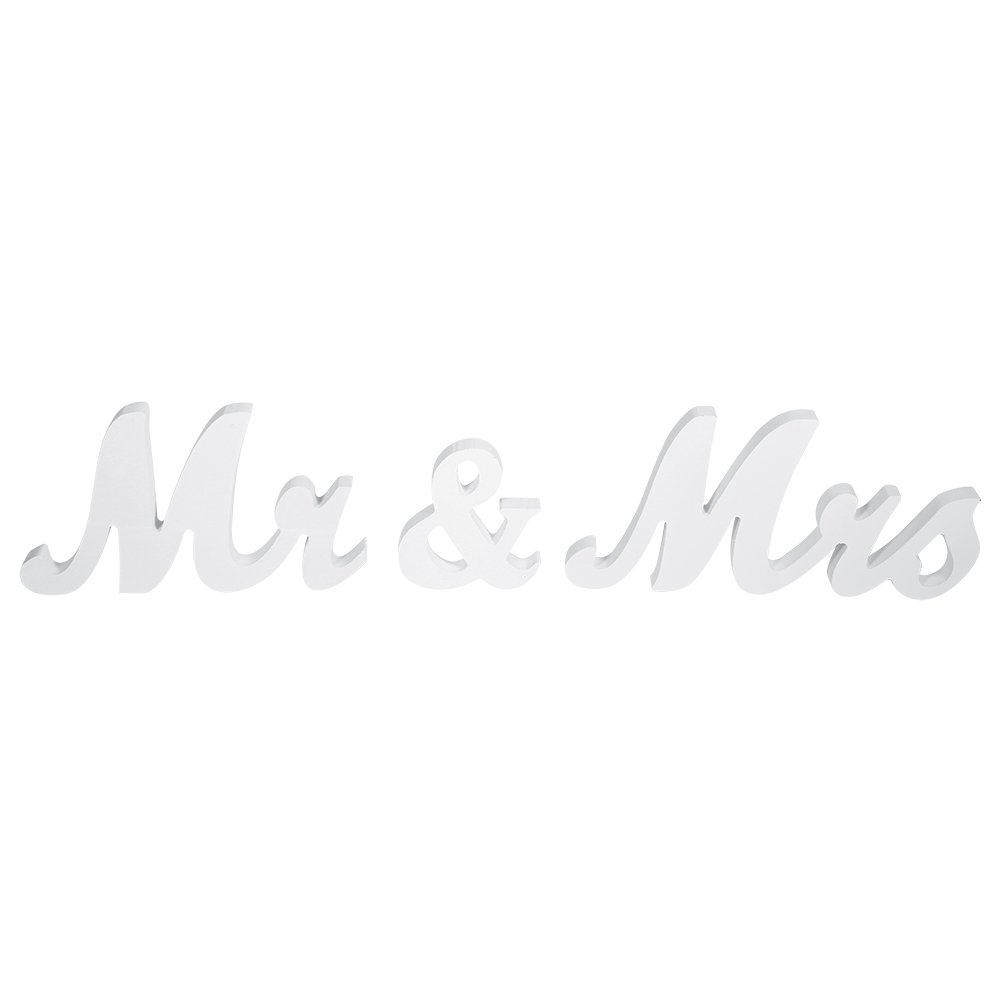 GLOGLOW Mr & Mrs Large Wood Wedding Letters Plaque Vintage Wooden Sign Wedding Table Decoration Present Photo Props 2 Color(Black)
