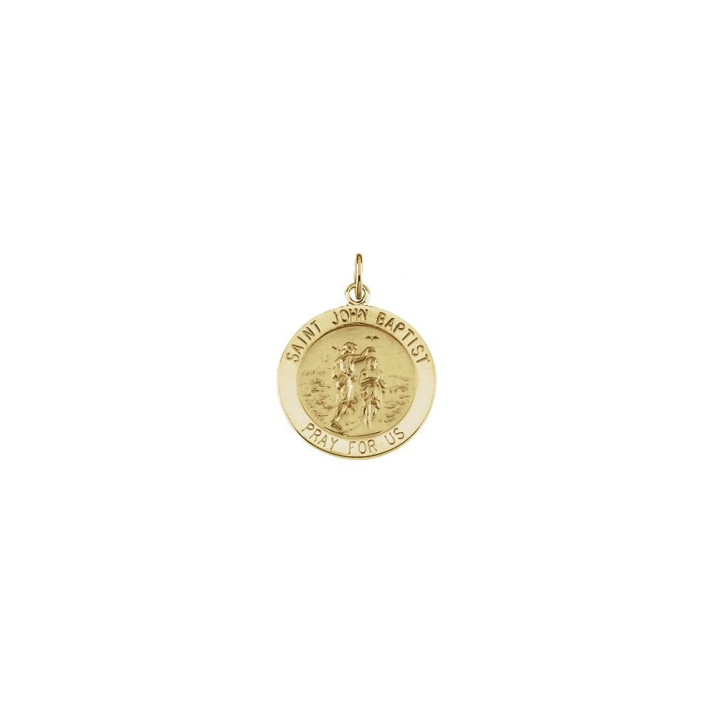 FB Jewels 14K Yellow Gold 12mm Round St Peregrine Medal