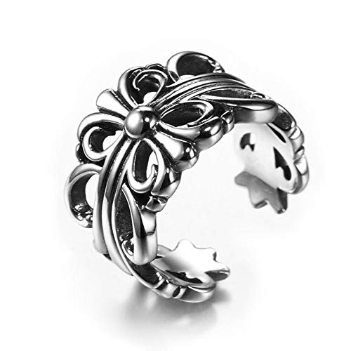 (OurJewellery Mens Retro Casting Gothic Punk Ring Womens Stainless Steel Cross Chrome Hearts Rings (11))