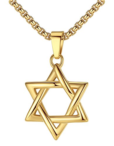 "LineAve Stainless Steel Jewish Star of David Pendant Necklace, Unisex, 22""+2"" Ext, 8h0047"