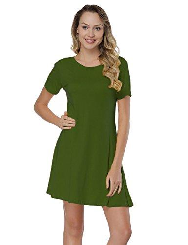 Cross Casual Criss Army BOHISEN Back Sleeve T Dress Women's Short Plain Green Shirt x0F5wgwqAB