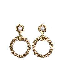 TENDYCOCO Pearl Hoop Earring Ivory Pearl Hoop Earrings Jewelry for Women Girls Circle Drop Pearl Earrings Vintage Earrings for Women girls(Golden)
