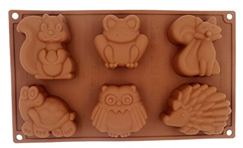 Yunko 6 Animal Silicone Cake Baking Mold Cake Pan Muffin Cups Handmade Soap Moulds Biscuit Chocolate Ice Cube Tray DIY Mold,Tortoise Fox Frog Hedgehog Squirrel Owl