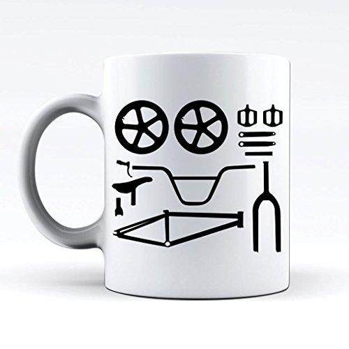 Printed Mug and Coffee Cups BMX Bike Parts Funny Mugs Novelty Gift ()