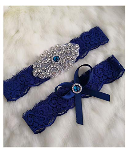 Wedding Garter Lace Set Bridal Garter Set Rhinestone Garter Lace Garter Set W019 (Green Rhinestone)