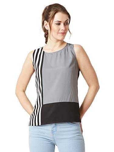 Miss Chase Women #39;s Multicoloured Sleeveless Striped Colourblock Top