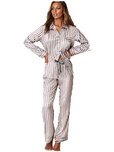 Victoria's Secret Satin Pajama Afterhours Set 2 Pieces Pink Gray Stripe Large Regular