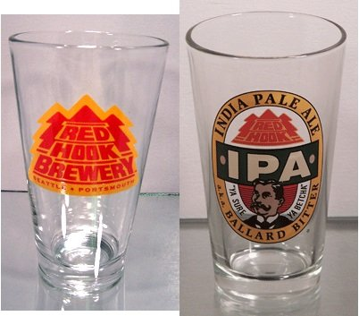 Redhook Brewery Pint Glasses - Four Glasses - Redhook Brewery Portsmouth Seattle and Ballard Bitter India Pale Ale (India Pale Ale)