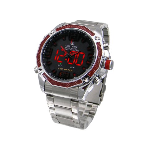 Mens Oskar Emil Accent Dual Time Digital-Analogue Steel Sports Watch (Red)