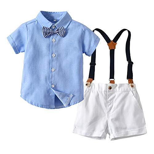 xirubaby Toddler Boys 2 Pieces Gentleman Blue Shirt+Suspenders Pants Clothing Set Outfit(110/4T,Short) -