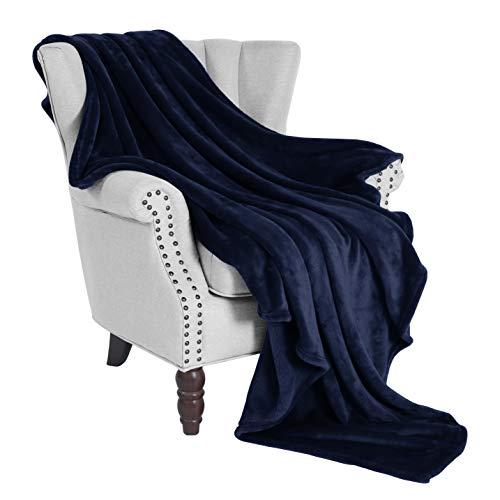 "Exclusivo Mezcla Large Flannel Velvet Plush Throw Blanket - 50"" x 70"" (Navy Blue)"