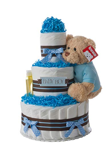Diaper Cake - Darling Boy Theme Handmade by Lil Baby Cakes - Baby Boy Gift - Makes a Great Baby Shower Centerpiece from Lil' Baby Cakes