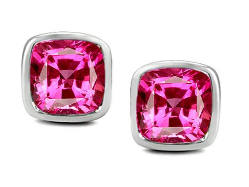 Star K 8mm Cushion Cut Created Pink Sapphire Earrings Studs Sterling Silver