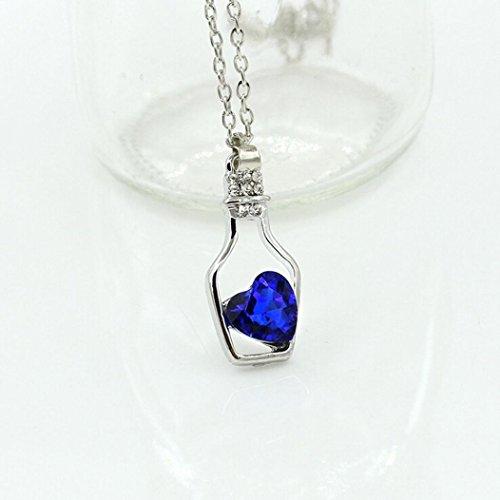 "Hot Sale Gifts!Women Necklace Daoroka Personality Love Bottles Pendant Necklace Fashion Jewelry For Mom Girlfriend (Chain: 37CM/14.5 Pendant: 3CMX1.5CM/1.1""X0.6, Blue)"