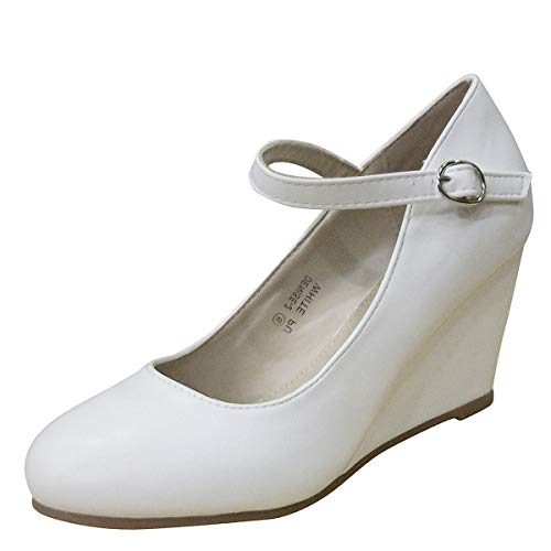 (Bella Marie Denise-1 Women's Round Toe Wedge Heel Mary Jane Squeaky Strap Suede Shoes (9 B(M) US, White))