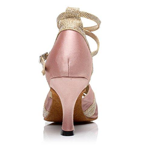JSHOE Sexy Salsa Jazz Dance Chaussures Ballroom Latin Tango Party Danse Chaussures Talons Hauts,Pink-heeled7.5cm-UK5.5/EU38/Our39