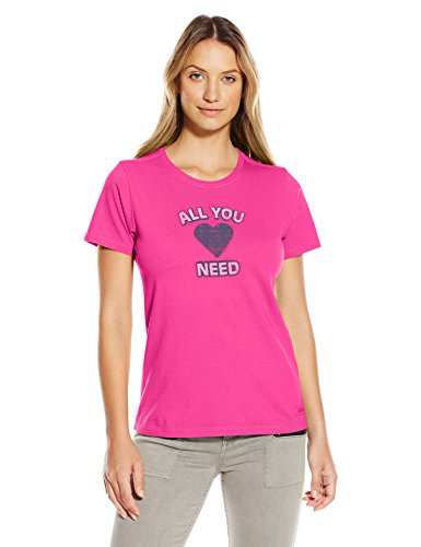 Life is Good Women's Need Heart Crusher Tee, Large, Bold Pink