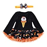 Image of Newborn Infant Toddler Baby Girl Boy Clothes Gifts Romper Skirt Dress Long Sleeve Winter First Halloween Costumes Outfit with Headband (3-6 Months, Black)
