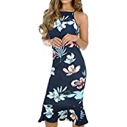 FDSD Man Swimsuit Women Evening Bodycon Maxi Dress Women's Casual Sleeveless Floral Printed Pencil Dress