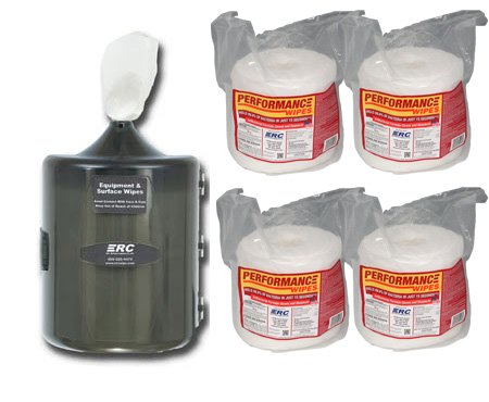 ERCWipes Starter Pack Gym Equipment Wipe Refills and Wall Dispenser - 8 Refill Rolls / 1 Dispenser