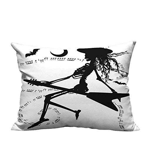 YouXianHome Home DecorCushion Covers Electric Guitar Not Bat Halloween istic Black White Comfortable and Breathable(Double-Sided Printing) 19.5x60 inch ()