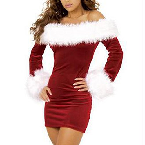 Santa Sexy Outfit (KINDOYO Women's Sexy Santa Claus Costume Suit Off Shoulder Christmas Xmas Cosplay Fancy Dress Outfit)