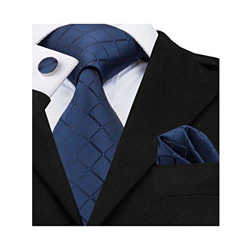 Blue Plaid Tie - Barry.Wang Solid Blue Ties Silk Tie Handkerchief Cufflinks Set Business Necktie