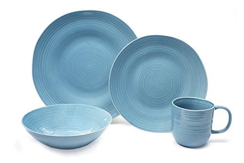 Light Blue Dinnerware - Tablescapes BT23322-16PC 16 Piece Toscano Dinnerware Set, Dusty Blueberry