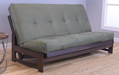 (Kodiak Furniture Aspen Full Size Futon Set in Reclaim Mocha Finish, Suede Olive)