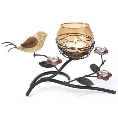 Gifts & Decor Partridge Bird Nest Branch Motif Tealight Candle Holder