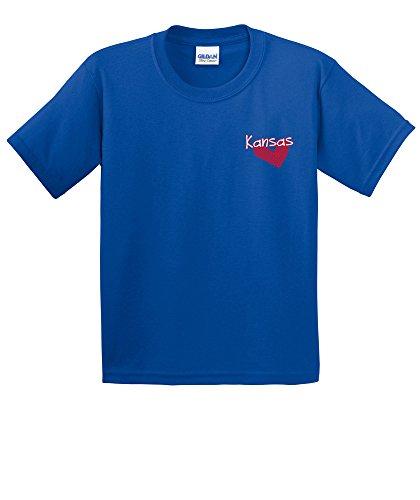 (NCAA Kansas Jayhawks Girls Patterned Heart Short Sleeve Cotton T-Shirt, Youth Medium,Royal)