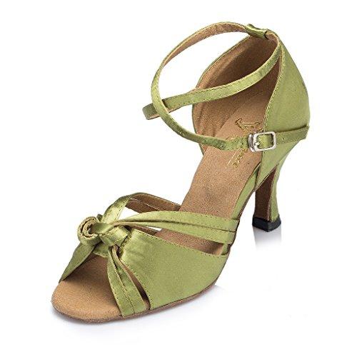Miyoopark Womens Knot Satin Dance Shoes Green OfELYqkBT