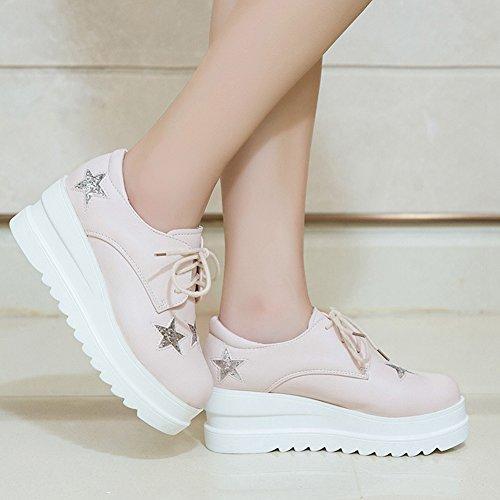 Cybling Womens Tillfälliga Tjocka Sulor Gymnastik Mode Spets Upp Sneakers Rosa