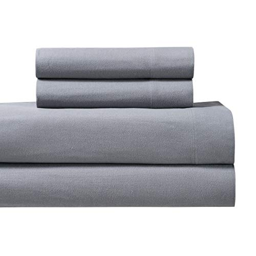 Royal Tradition Heavyweight Flannel, 100 Percent Cotton Split King 5PC Sheets Set for Adjustable Beds, Grey, 170 GSM