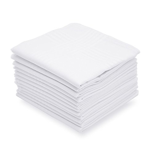 (Selected Hanky Men's Handkerchiefs 100% Cotton White with Stripe Pack of 12 Hankies)