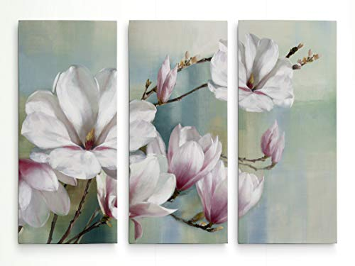(WEXFORD HOME Magnolia Blooms 3 Panel Gallery Wrapped Canvas Wall Art, 40x60,)