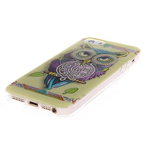 Funda iPhone 5 / 5S /SE,Carcasa iPhone 5 / 5S /SE, Elegante Alta Calidad TPU Suave Silicón Gel de Alta Resistencia y Flexibilidad Anti-arañazos y Antideslizante Choque-Absorción Protectora Suave Caso  búho