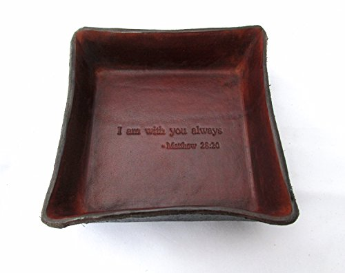 Religious Gift. Jesus Christ Bible Verse Leather Tray.