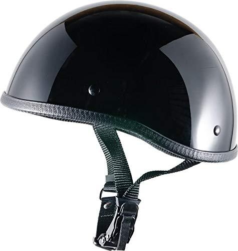 Crazy Al's- SOA InspiredMotorcycle Helmet -DOT Approved Ultra Low Profile Beanie - Gloss Black No Peak - Large Bikerhelmets.com COMINU078743